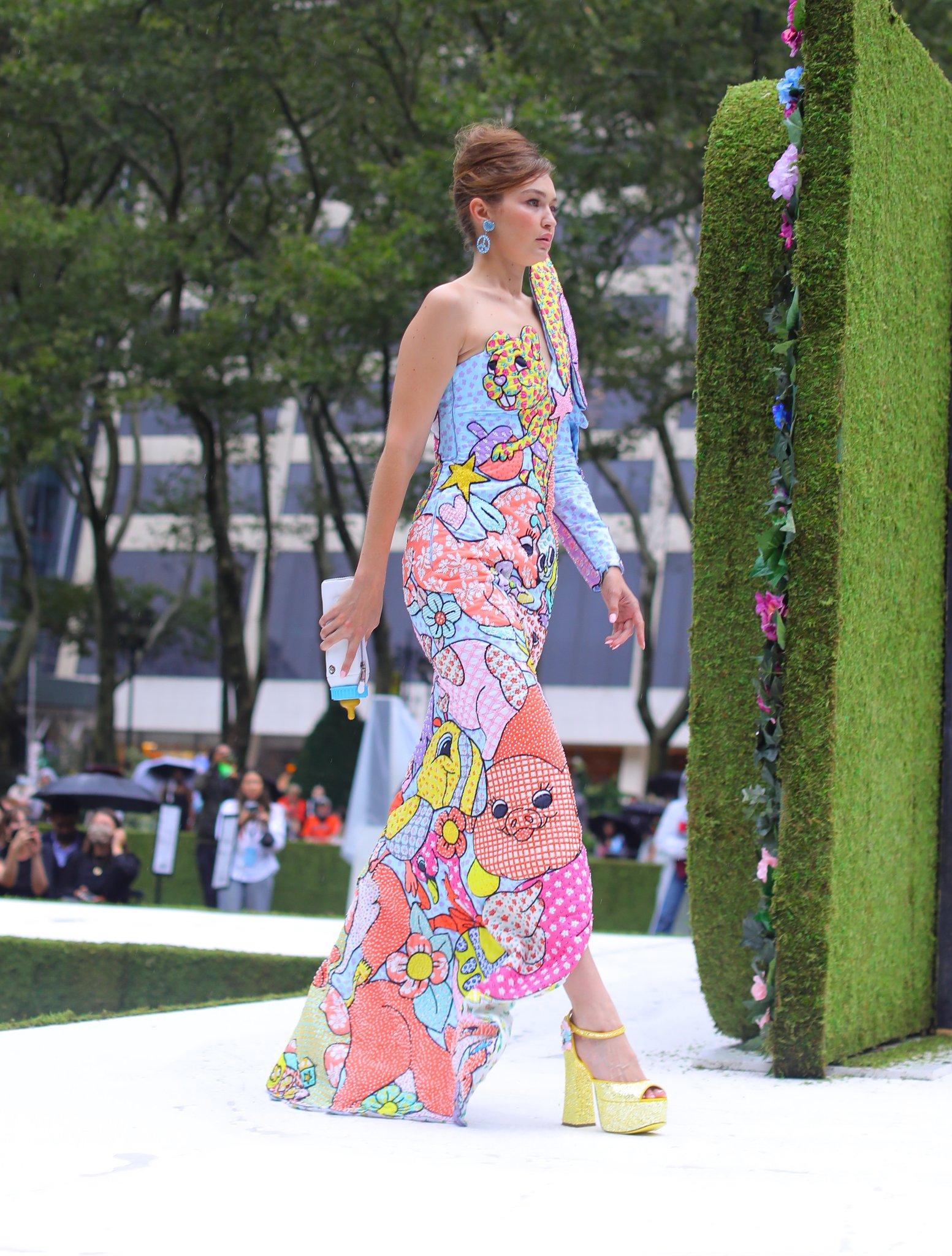 Gigi Hadid walking for Moschino Spring Summer 2022 in New York.