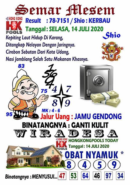 Semar Mesem HK Selasa 14 Juli 2020