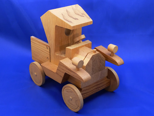 Right Front - Handmade Wooden Toy Truck - Norm Marshall Model T Pickup Truck - Version 2