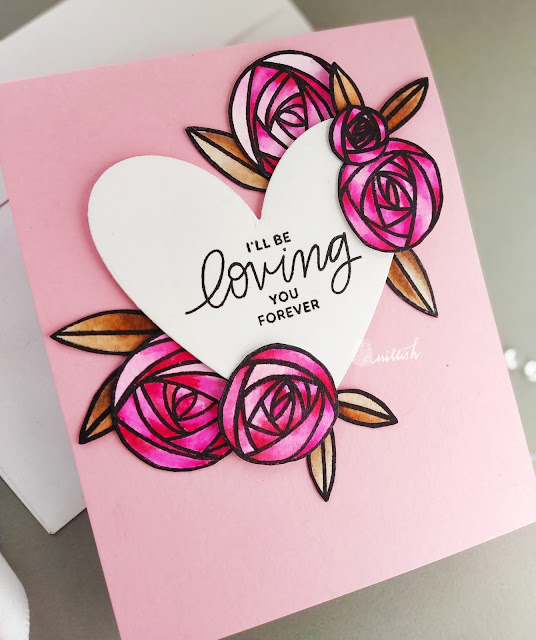 Rennie Roses Altenew, Altenew Floral card, Valentines day card, Rose card with altenew, Quillish,water colouring,floral card,