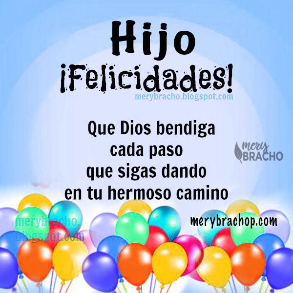 tarjeta con imagen de globos coloridos para cumpleanos de hijo, saludos cristianos Dios te bendiga hijo