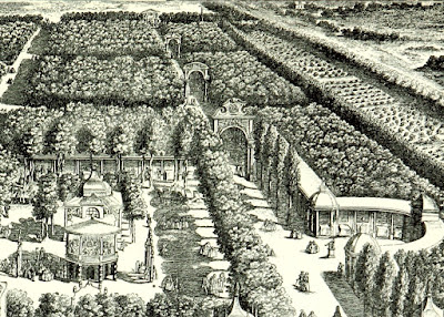 Vauxhall Gardens from an engraving dated 1751 from South London   by W Besant (1899) - close up to show triumphal arches