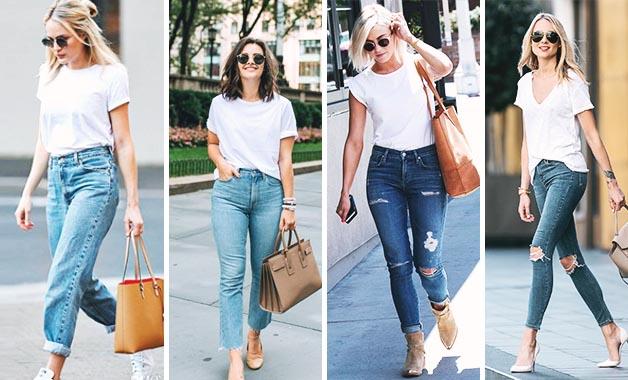 White Tshirt + Plain Old Jeans + Tan Tote bag