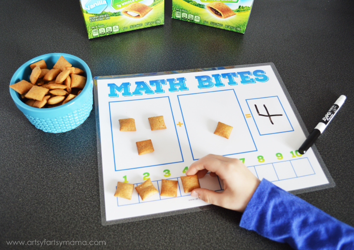 Teach Your Child Addition at Snack Time with Free Printable Math Bites Worksheet at artsyfartsymama.com