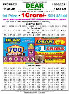 Nagaland State Lottery Result 15/05/2021 Morning 11:55AM