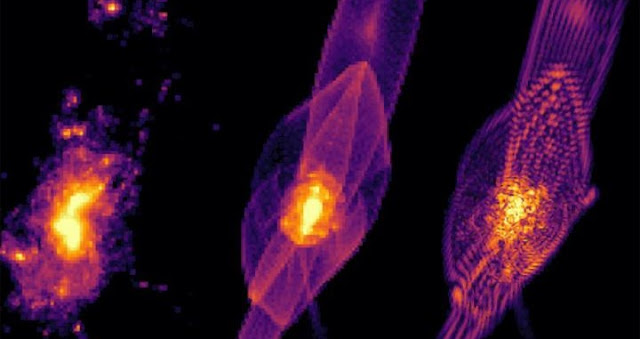 Simulations of how galaxies form in cold, warm and fuzzy (left to right) dark matter scenarios