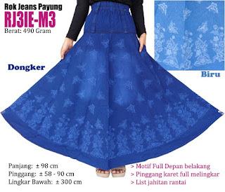 Rok jeans panjang model payung umbrella motif