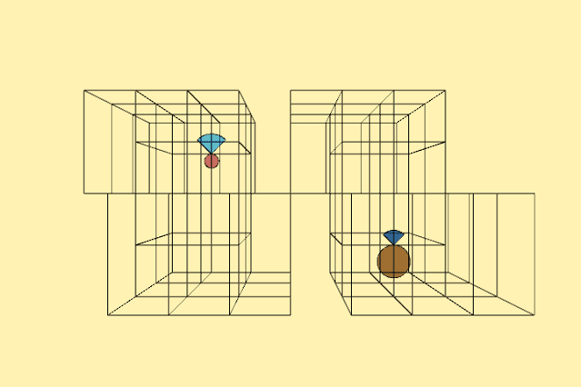 It creates an animation of moving boxes.