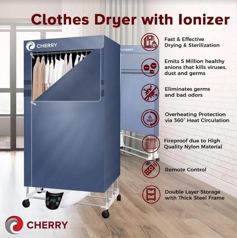 Cherry Clothes Dryer Ionizer; Fast, Effective Drying and Sterilization for Only Php3,500