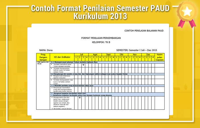 Contoh Format Penilaian Semester PAUD Kurikulum 2013