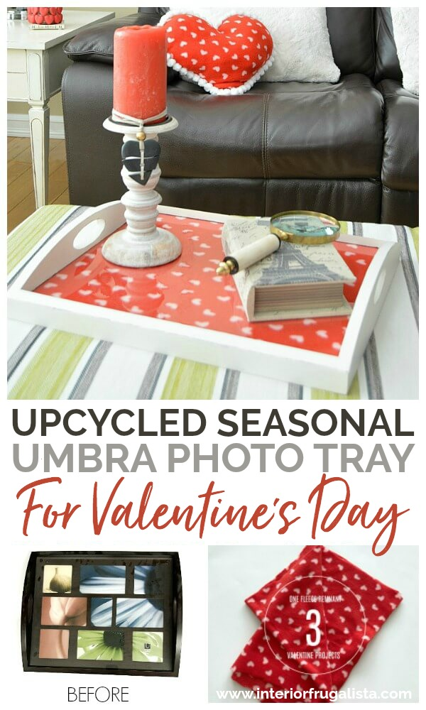 An upcycled Farmhouse Umbra Photo Tray for Valentine's Day that can be used year round for seasonal decor by simply switching out what is displayed under the glass. A budget-friendly coffee table tray idea!