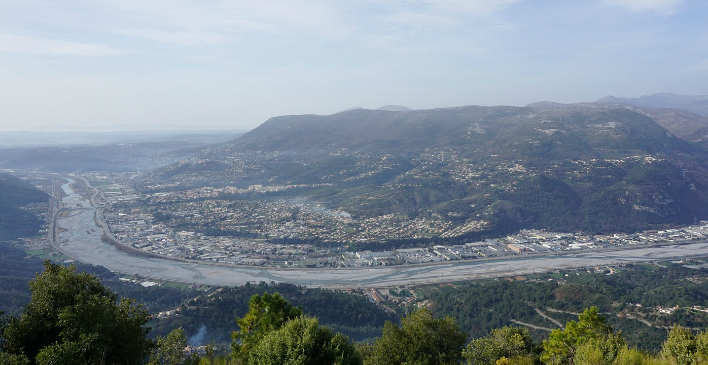 Carros and Var River seen from Croix de Cuor