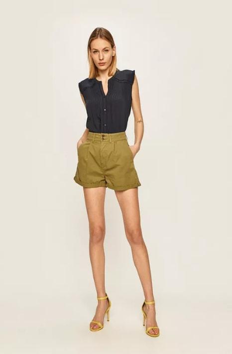 Pepe Jeans - Pantaloni scurti casual khaki de dama