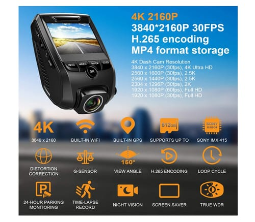VIZOMAOI F7 Dash Cam 4K GPS WiFi Dash Camera for Cars