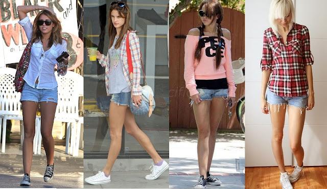 shorts jeans com tenis