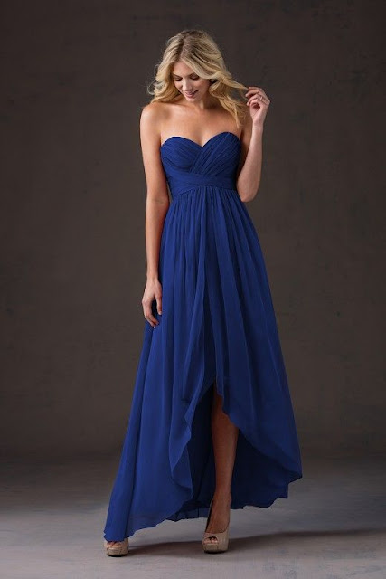 Dresses your bridesmaids will love and can wear again after the wedding - wedding dress ideas - blue sweetheart strapless belsoie tiffany chiffon high-low dress - wedding ideas blog - K'Mich Weddings Philadelphia - jasminbridal.com