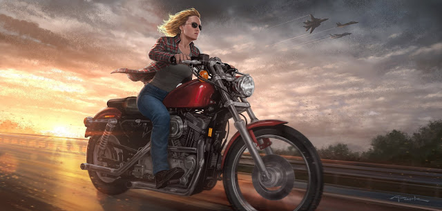 Captain Marvel Bike Riding 5k Wallpaper
