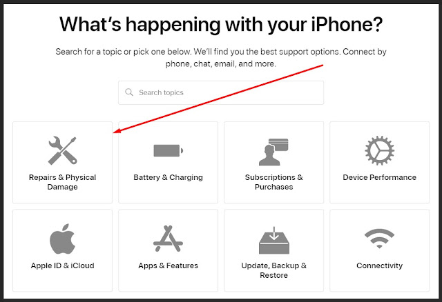 pilih jenis kerusakan apple device anda
