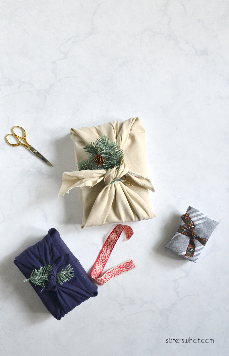wrap gifts with fabric