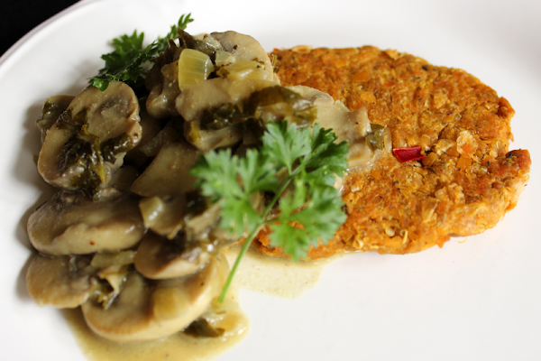 Chickpea Cutlets with Mushroom Sauce