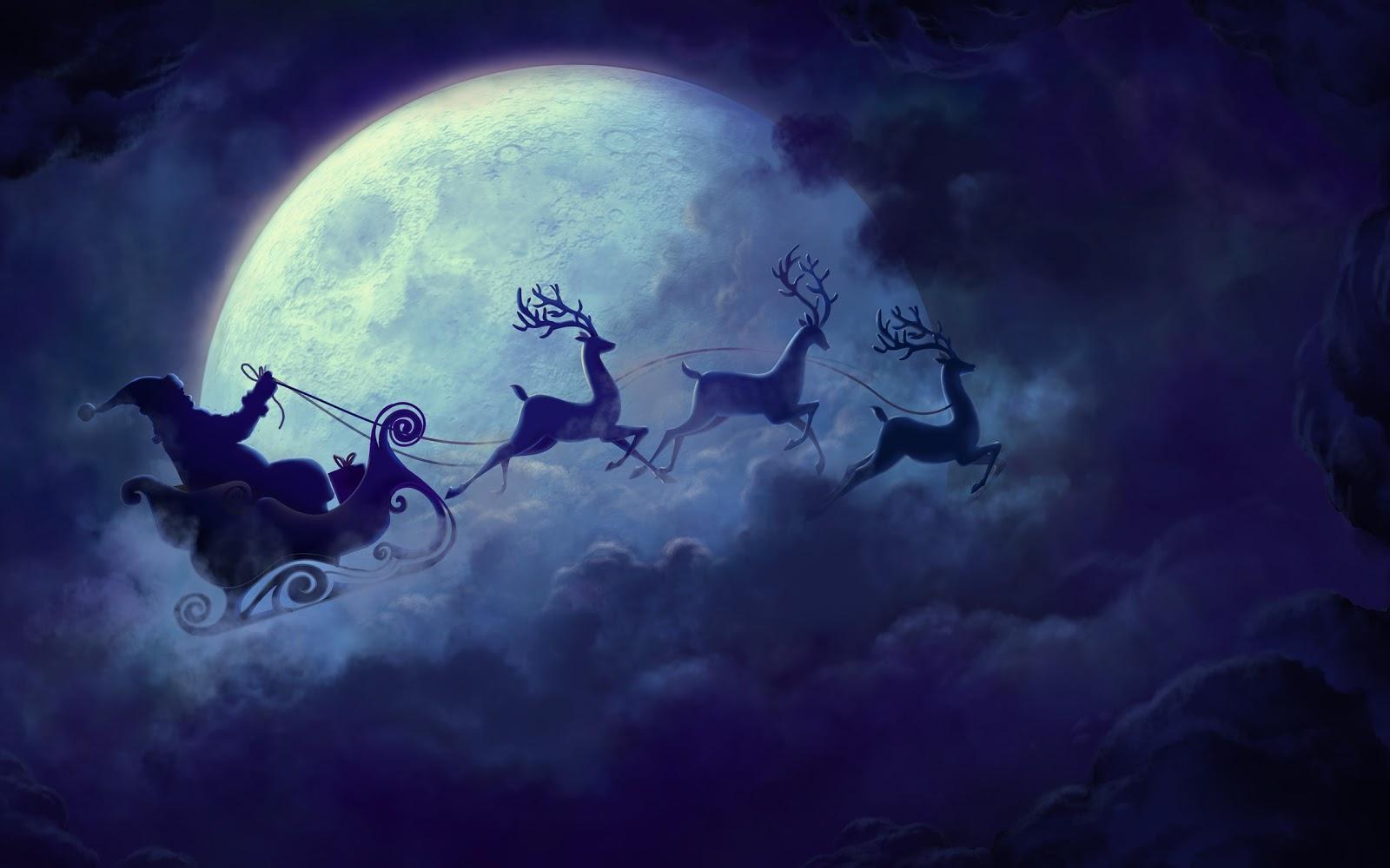 Babbo Natale, renne, slitta, luna, nuvole, notte