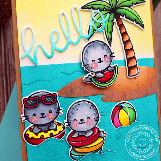 Sunny Studio Stamps: Sealiously Sweet Tropical Scenes Hello Word Die Everyday Card by Vanessa Menhorn