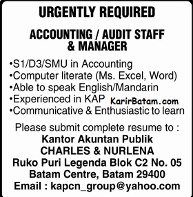 Lowongan Kerja Accounting Charles and Nurlena