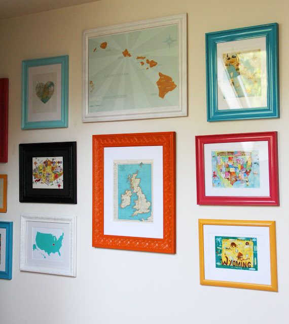 DIY Gallery Map Wall with colorful painted frames