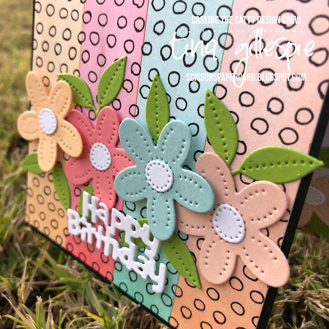 scissorspapercard, Stampin' Up!, CASEing The Catty, Pierced Blooms Dies, Birthday Chick Dies, Pattern Party DSP, Sweet As A Peach