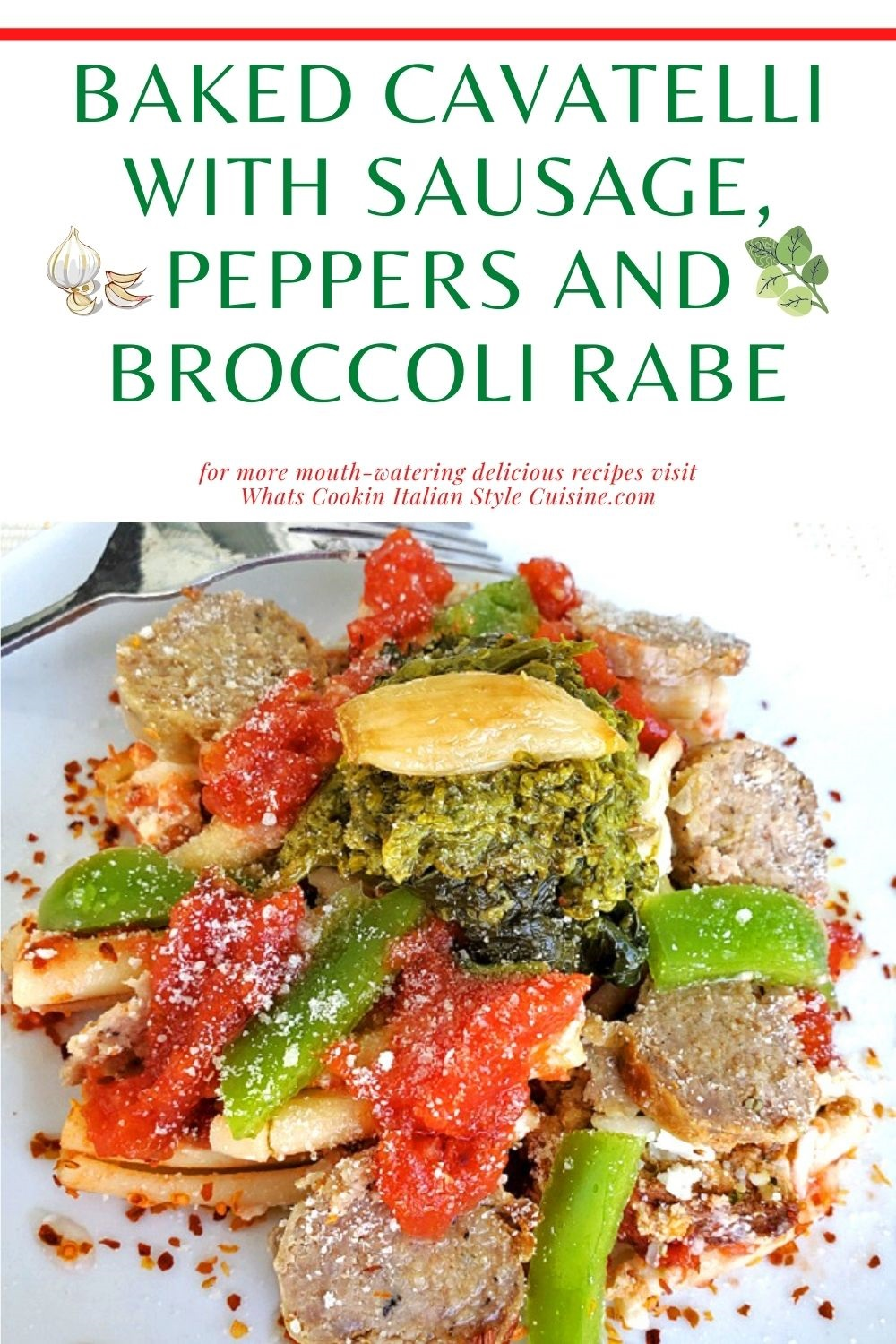 this is a pin for later on how to make baked cavatelli casserole with sausage, pepper and broccoli rabe