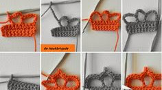 Apliques con forma de corona al crochet paso a paso