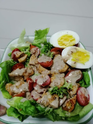 resepi chicken salad, salad ayam, chicken salad, cara buat chicken salad, ayam grill