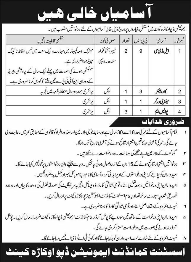 Pak Army Ammunition Depot Okara Jobs 2021