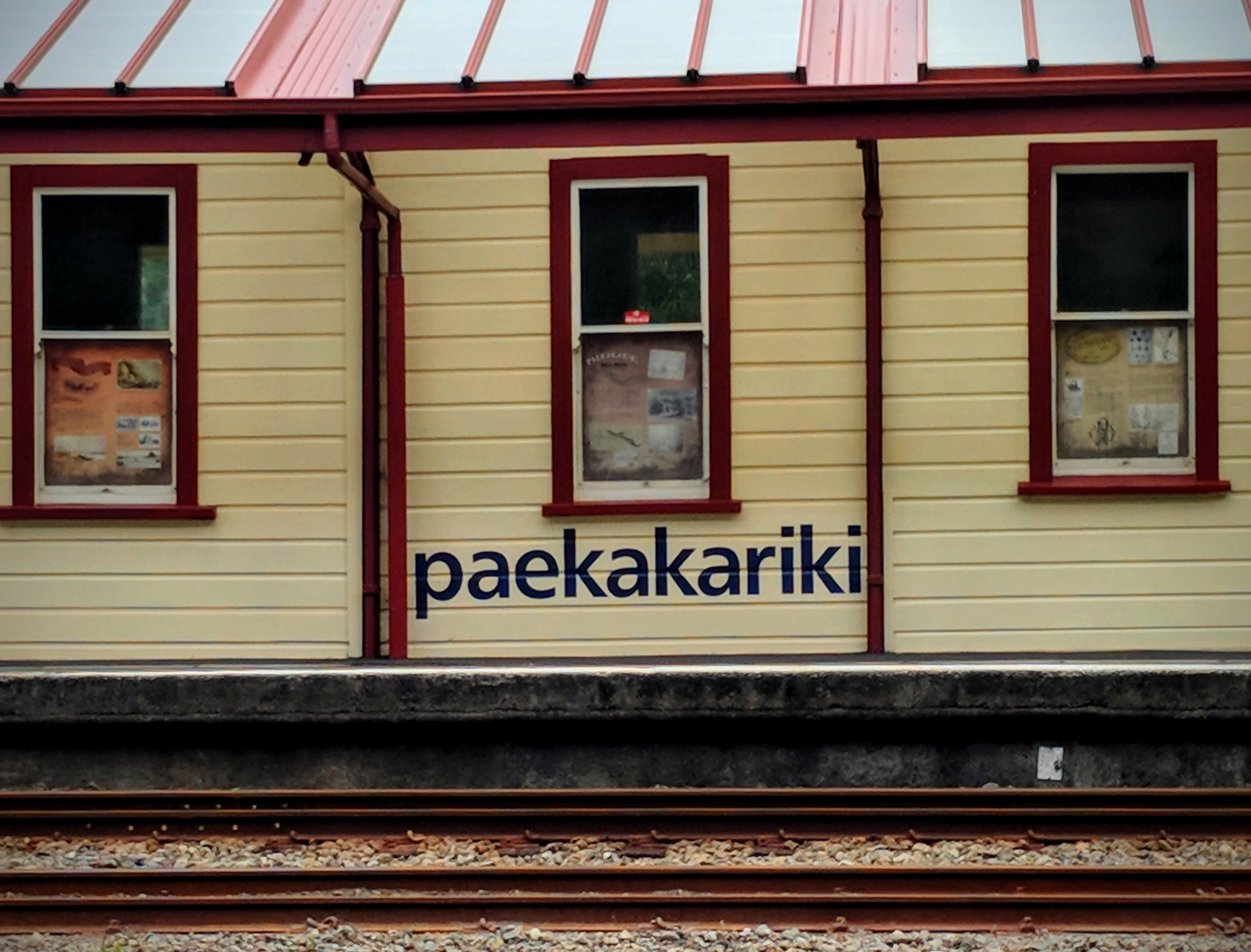 Paekakariki tran station as seen from State Highway 1
