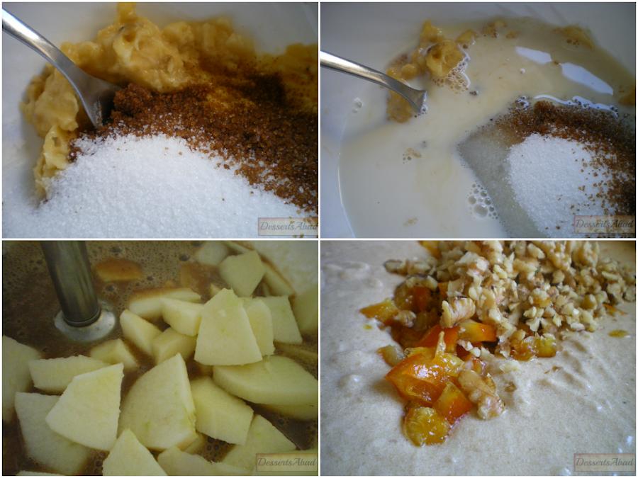 Cake de plátanos con manzanas y naranja confitada (Elaboración)