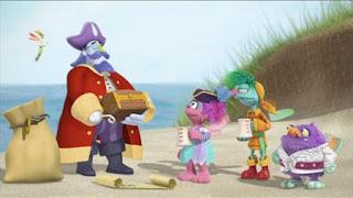 Abby's Flying Fairy School Treasure Hunt, Abby Cadabby, Blögg, Gonnigan, Mrs. Sparklenose, Captain Hook pirate treasure. Sesame Street Episode 4323 Max the Magician season 43