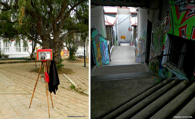 O Paseo Yugoslavo e uma escadaria no Cero Alegre, Valparaíso, Chile