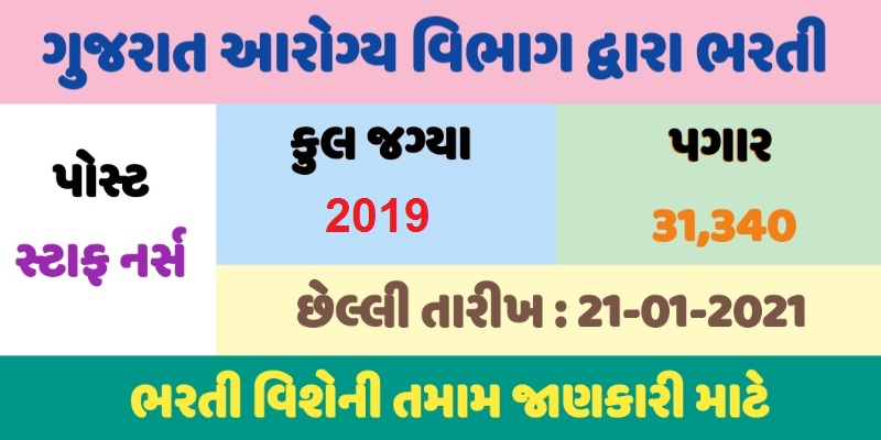 Staff Nurse Recruitment 2021, 2019 Staff Nurse Posts, Health and Family Welfare Department Gujarat Recruitment 2021, Ojas Bharti 2021, Apply for 2019 Staff Nurse Posts