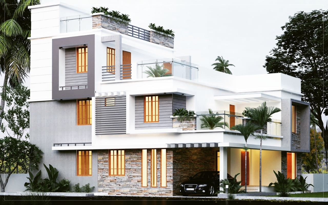 Compact design simple contemporary below 2800 sq ft4 bed room residence