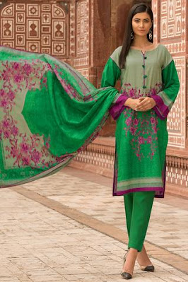 Warda Printed Khaddar shirt with dupatta & trouser green colo winter collectionr