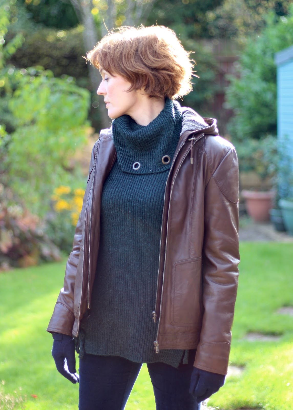 Fake Fabulous | Wearing leather over 40 | Brown jacket, velvet jeans, patent boots & eyelet jumper.