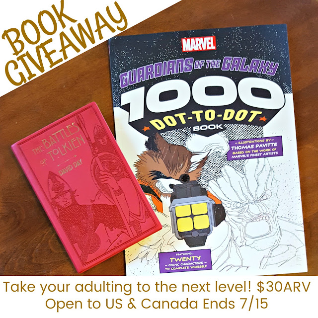 guardians of the galaxy giveaway, win free books, adult dot to dot, free adulting books, battles of tolkien book review, battle maps of tolkien sagas, canadian contests