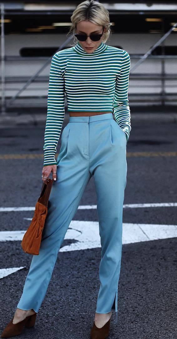 fashion trends | stripped top + bag + pants + heels