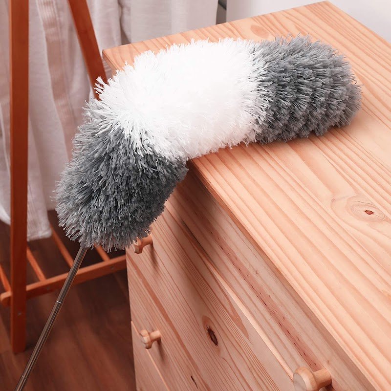 50% off Telescoping Dusters for Cleaning,100 Inches Extendable Microfiber Duster with Extension Pole,Duster for High Ceiling Fan Roof Cobweb,Include Stainless Steel Pole,Washable Bendable Duster Head