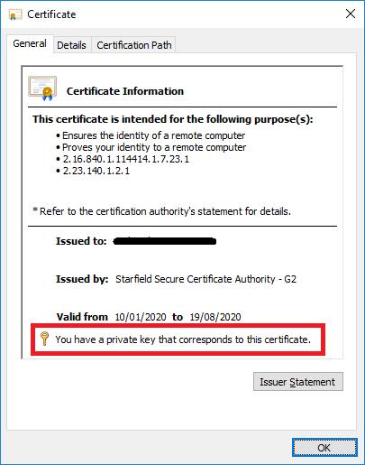 Windows: Certificado no tiene clave privada