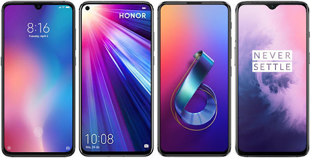 Xiaomi Mi 9 128G vs Honor View 20 128 GB vs Asus ZenFone 6 ZS630KL 128 GB vs OnePlus 7 128 GB