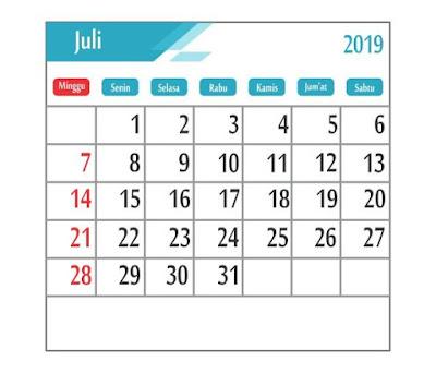 Kalender Juli 2019 - tanggal merah