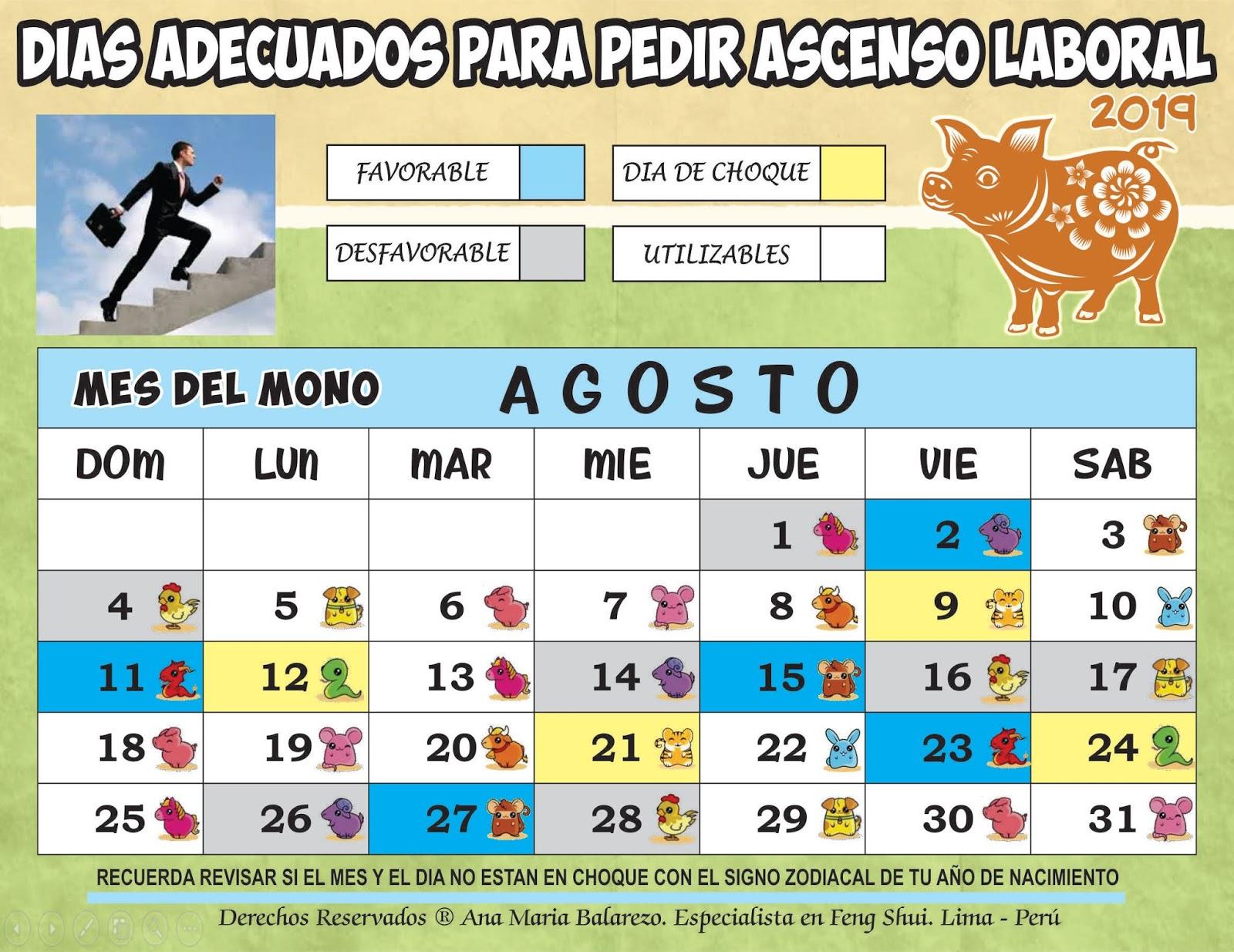 Calendario Agosto 2019 Peru.Feng Shui Ana Maria Balarezo