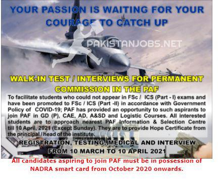 Join Pakistan Air Force PAF Jobs 2021 Permanent Commission