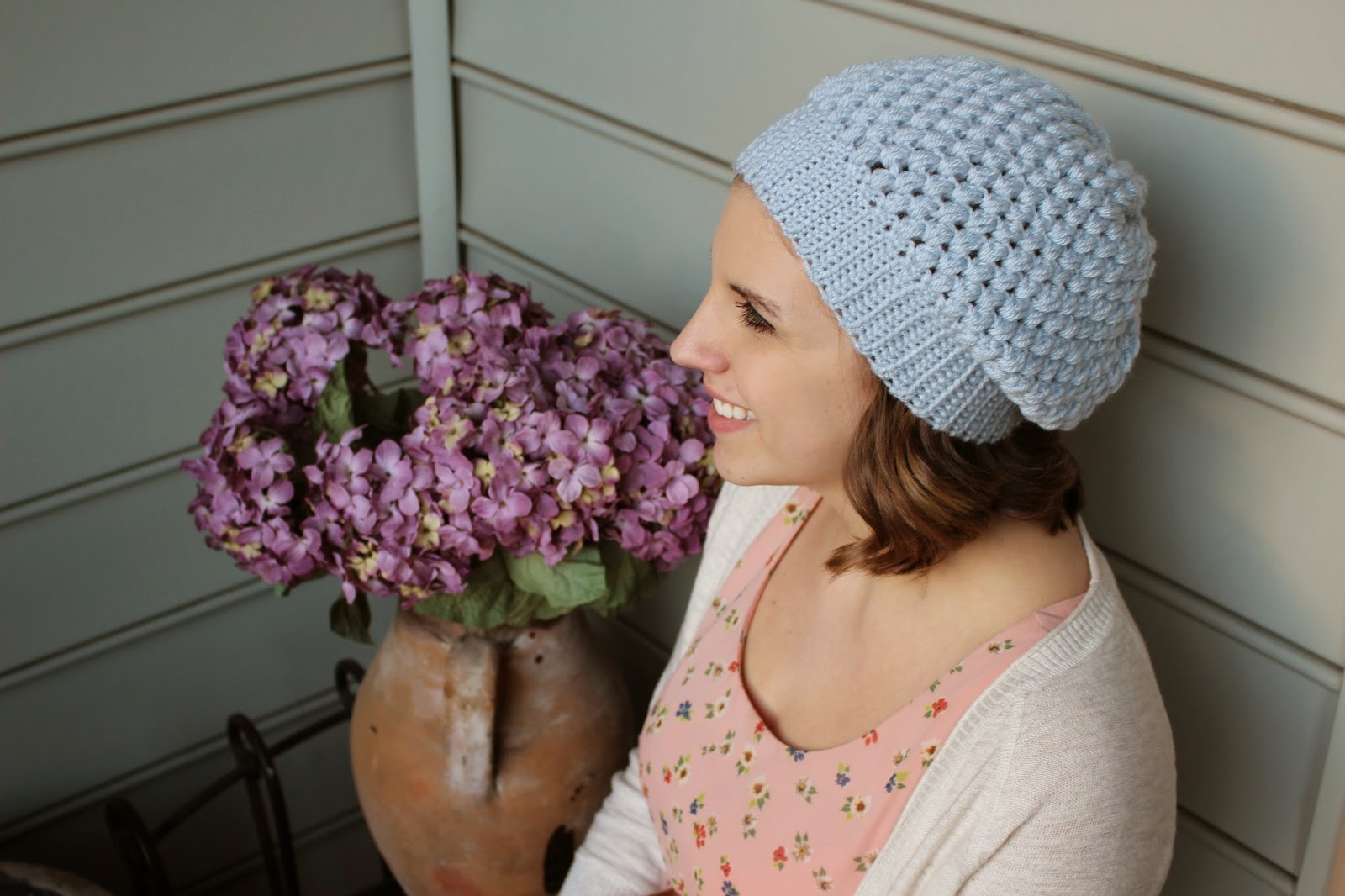 dba7c466042 Hey there everybody! So I posted the video tutorial for this puff stitch  slouchy beanie ...